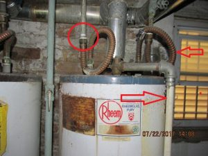 Improper plumbing connections for a water heater